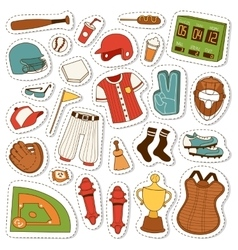 Cartoon baseball icons set vector image