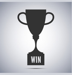champion trophy cup black icon winner vector image