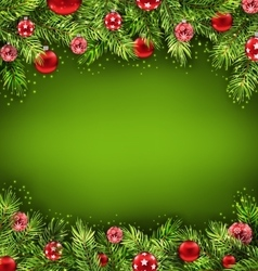 Christmas Banner with Fir Sprigs and Glass Balls vector image