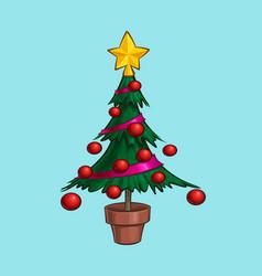 christmas cartoon icon - small xmas tree in a pot vector image