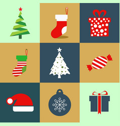 christmas icon set colured icons vector image