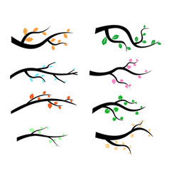 Collection of tree branch silhouettes icon in flat vector