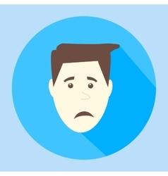 Color sad flat icon man face emotion vector