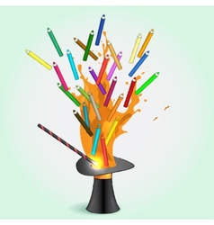 Colored pencils flying from magic hat vector image