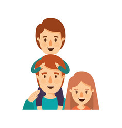 Colorful caricature half body family mother and vector