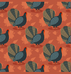 Colorful pattern with cartoon turkey bird and vector