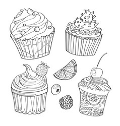 Coloring book coloring page cake sweet bakery vector
