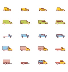 Commercial transport icons vector