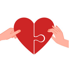 connected hearts find love hands holding half of vector image