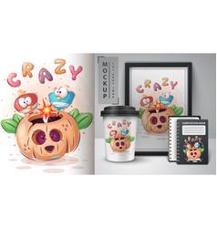 Crazy bird halloween deer poster and merchandising vector