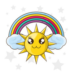 Cute sun with over cloud and colorful rainbow vector