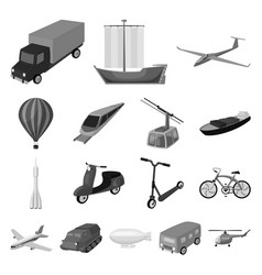 different types of transport monochrome icons in vector image