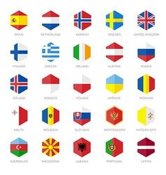 Europe Flag Icons Hexagon Flat Design vector image vector image