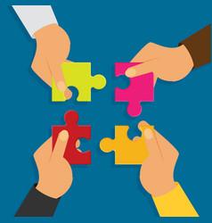 flat four hands putting multicolor puzzle pieces vector image