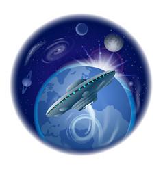 Flying ufo vector