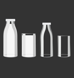 Full and milk bottle and glass design vector