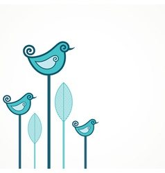 Funny blue birds with leaves vector image