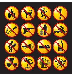 Funny prohibited icons and buttons vector