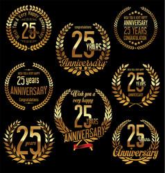 Golden laurel wreath anniversary collection 25 vector