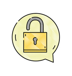 Grated padlock sign of security inside chat bubble vector