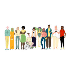 group different young people social diversity vector image