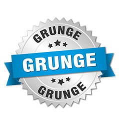 grunge 3d silver badge with blue ribbon vector image