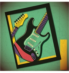 Guitar in frame decorative poster on grunge vector