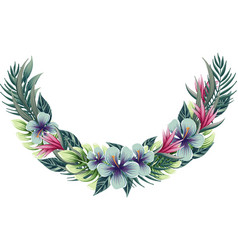 half round floral wreath with tropical plants vector image