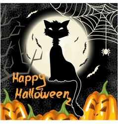 Halloween background with pumpkins moon and cat vector