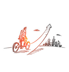 hand drawn man going up on bicycle vector image