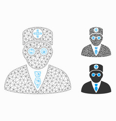 Head physician mesh 2d model and triangle vector