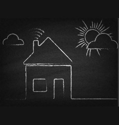House with wi fi sign drawn chalk on blackboard vector