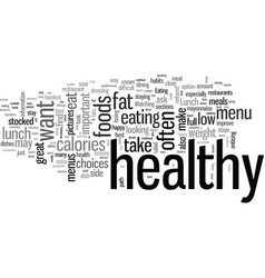 How to make healthy choices from a lunch menu vector