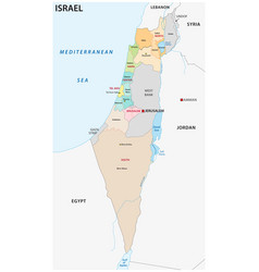 israel administrative and political map vector image