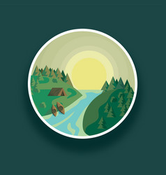 Landscape round river and vector
