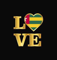 love typography togo flag design gold lettering vector image