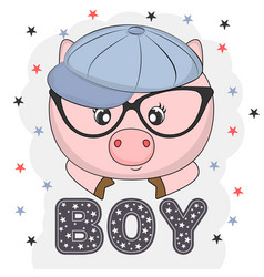 lovely pig face in glasses vector image