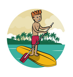 Man over surf board vector