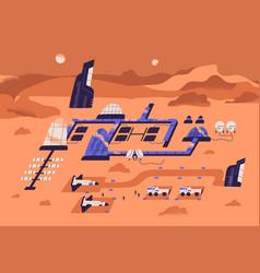 Mars colonization concept futuristic landscape vector