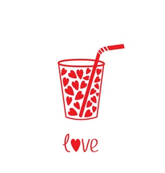 Martini glass with straw and hearts inside Card vector