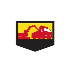 Mechanical Digger Loading Dump Truck Shield Retro vector