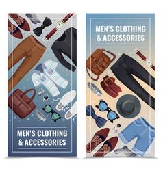 Men accessories vertical banner set vector