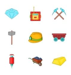 Mining activities icons set cartoon style vector