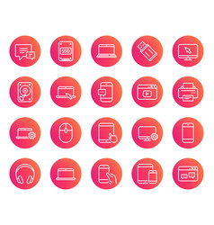 mobile devices line icons laptop ssd and hdd vector image