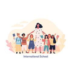 Multiracial students at international school vector