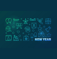 new year colorful horizontal vector image