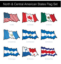 North and central american states waving flag set vector