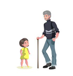 Old man character walking with little girl vector