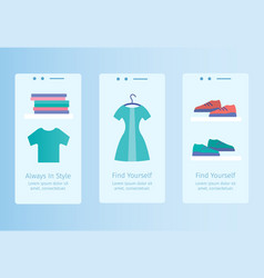Online store mobile app templates vector