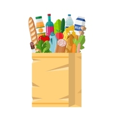 Paper shopping bag full of groceries products vector image